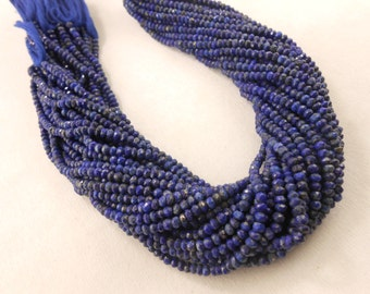 Natural AAA Quality Lapis Lazuli  3mm-4mm Approx Full 13' Long Strand Gemstone Beads Free Shipping