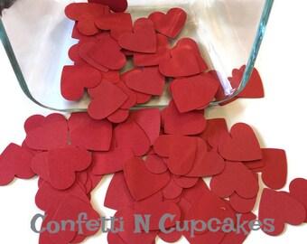 Red Heart Confetti, funfetti, heart die cuts,  heart confetti, red confetti, wedding hearts, shower confetti, party decor,  paper confetti,