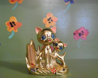 Gold Painted Cat Kitten Thermometer Kitsch Home Office Kitchen Decor Vintage Mid Century Modern Retro