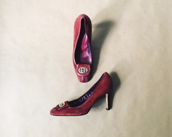 Vintage Gucci Heels Burgundy Suede Leather Authentic 90's Gucci Size 8