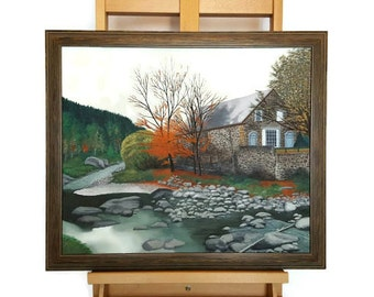 """Amazing Original Oil on Canvas board Painting """"Vermont in the fall"""" by Steven A. Vetterlein, Landscape painting, Framed art, Large painting"""