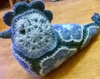 Crocheted African Flower Blue Bird