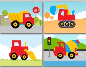 Construction Wall Art,Trucks Kids Wall Art,Construction Nursery Wall Art,Dump Truck Mixer Digger Wall Art,Dream Factory Trucks Decor- C118