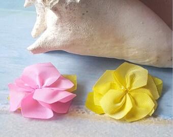 Flower hair clip (yellow & pink)
