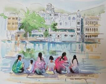 Original Watercolor Sketch, Lake Pichola, Udaipur, India