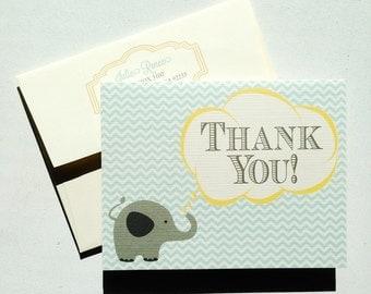Thank You Card   Elephant Chevron