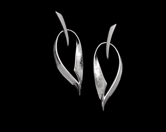 Fold forming Sterling Silver Earrings, Gold or Rhodium plated