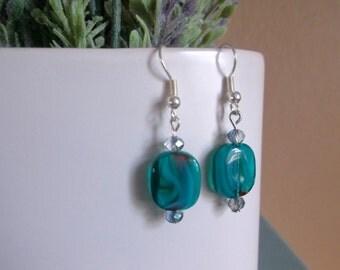Glass Bead Drop Earrings, Teal Rectangle Bead Earrings, Beaded Drop Earrings