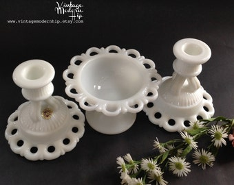 Vintage Milk Glass with Lace Edge - 2 Westmoreland Doric Candleholders and 1 Anchor Hocking Old Colony Open Lace Footed Bowl - Candy Dish