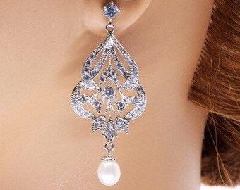 Bridal Earrings, Swarovski Pearl Earrings, Classic Wedding Jewelry, Simple Bridal Earrings, Bridesmaid Earrings, Crystal Earrings