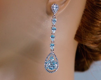 Bridal Earrings , Crystal Long Wedding Earrings, Wedding Jewelry, Cubic Zirconia Earrings, Bridal Earrings Bridesmaid Earrings, CZ Earrings
