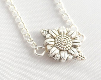 Silver Sunflower Necklace -  Sunflower Necklace - Flower Pendant