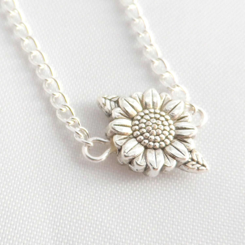 Silver Sunflower Necklace Sunflower Necklace Flower