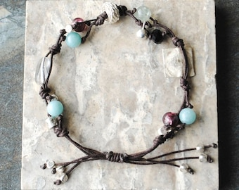 Knotted Bracelet with Gemstones and Silver Charms