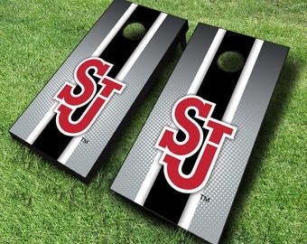 Officially Licensed St Johns Red Storm Striped Cornhole Set with Bags - Bean Bag Toss - St Johns Cornhole - Corn Toss - Corn hole