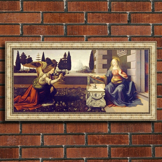 Leonardo da Vinci Annunciation Framed Canvas