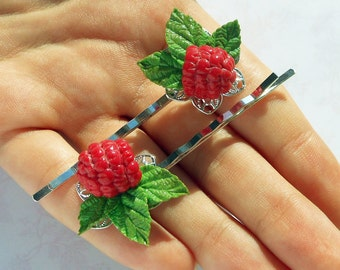 Hair Clips Raspberry polymer clay / Small cute bobby pin red berry / Raspberry barrette / Raspberry bobby pin Nature bobby pin Gift for her