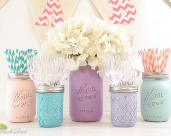 Frozen Centerpiece Birthday Decor Painted Mason Jars Baby Shower Vase Girl Purple Pink