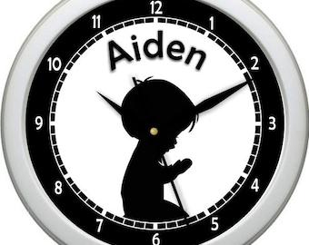 "Personalized Silhouette Praying Boy 10"" Wall Clock Boy Nursery Decor Gift"