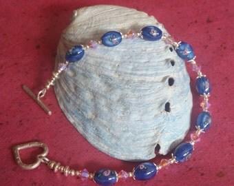 Blue and Pink Lampwork Rose Bracelet