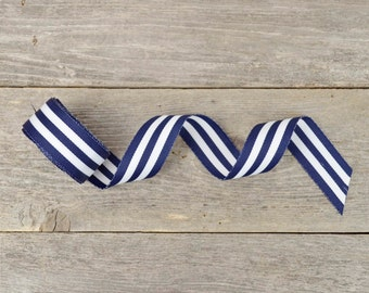 Nautical Ribbon / Navy Blue and White Striped Ribbon - 7/8 inch - 5 yards