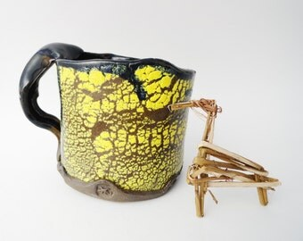 Funky Yellow Chocolate Brown Blue Rustic Distinctive Textured Mug, 13 oz Coffee Cup, Asymmetrical Unique Pottery Vessel