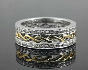 Sterling silver 925 gold plated filigree band for men and women