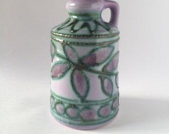 Strehla vase / hand painted fat lava vase / Strehla East Germany / 1970s