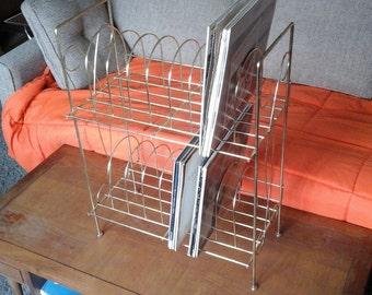 60s Metal Record Rack, Gold Tone Wire LP Rack, Two Shelf Floor Standing Rack