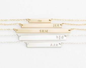 Initial Bar Necklace, Custom Stamped Initial Necklace, Personalized Bar Necklace - Gold Fill, Sterling Silver, Rose Gold / GLDN Bar Necklace