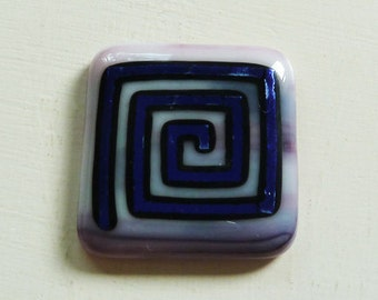 Dichroic cabochon - large purple, pink and white fused glass with purple and black dichroic spiral
