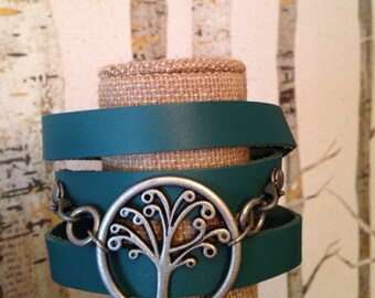 Turquoise Leather Wrap Bracelet with Tree of Life Charm
