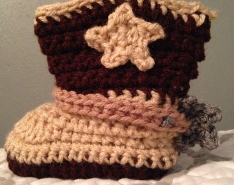 Hand Crochet Cowboy Boots