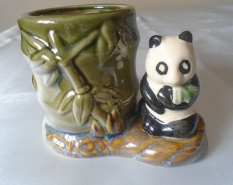 bamboo and panda pen pot/holder