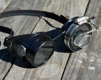 STEAMPUNK GOGGLES, Black with Silver Accents and Magnifying Loupes, Great for Halloween, Cosplay Costume or Birthday Gift