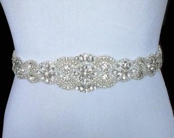 Bridal Sash, Bridal Belt, Wedding Sash, Beaded Belt, Crystal Sash, Rhinestone Belt, Wedding Dress Sash, Wedding Dress Belt, style 77