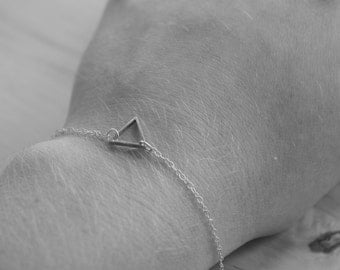 Tiny Triangle Bracelet with Fine Sterling Silver Chain