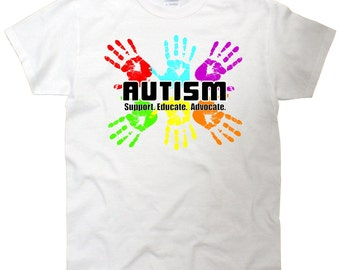 Autism Support Educate Advocate Handprint T-Shirt