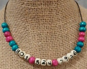 Emergency Necklace - Pink and Blue, Safety Necklace, Security Necklace, Allergy Necklace, Safety Necklace, Phone Number Necklace ID Necklace