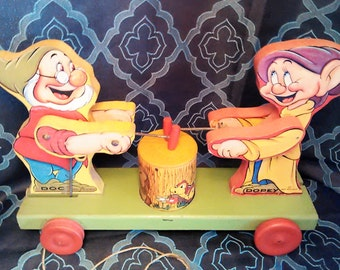 RARE Vintage #770 Fisher Price wooden pull toy Doc & Dopey Dwarfs. Made in USA copyright 1937. (All offers Considered!)