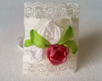 """OOAK Lace Cuff Bracelet """"Gentle chic""""- Bridal bracelet - Wedding accessory - Embroidery silk ribbon- Gift for her"""