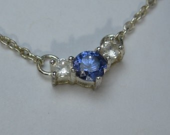 """Beautiful Vintage Sterling Silver Blue Gemstone with White Gem Accents and 17"""" Sterling Chain"""
