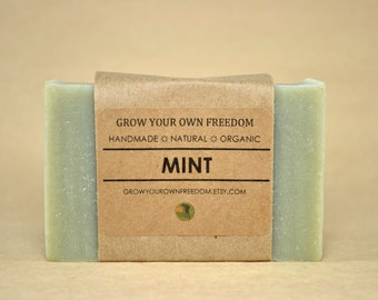 Organic Soap: Mint Soap || Peppermint Soap || Cold Process Soap || All Natural Soap || Naturally Colored Soap