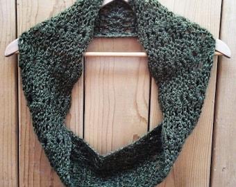 Crochet Infinity Scarf-handmade-green-forest-atumn-scarf-crochet-women gift