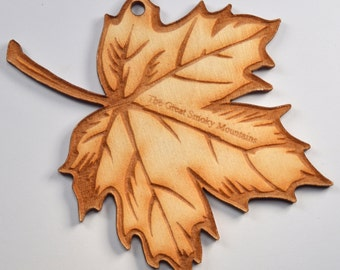 Leaf Ornament~Wood~Personalized FREE