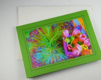 "FWF-0004 ""Perennial Tulips"" Photo Frame Card, 5x7 Blank Greeting Card, Frameable"