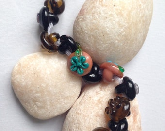 13 Maple, Caramel & Black Glass Button / Bead Mix, Lampwork SRA