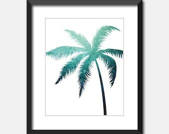 Turquoise Palm Tree Print, Printable Art, Tropical Art Instant Digital Download, Blue