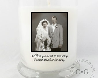 Soy Candle,10oz CandleGram ...In Memory photo, Wedding Memorial