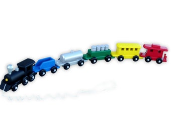 "Deluxe 35"" Large Wooden Toy Train, Child-Safe Painted Finish"